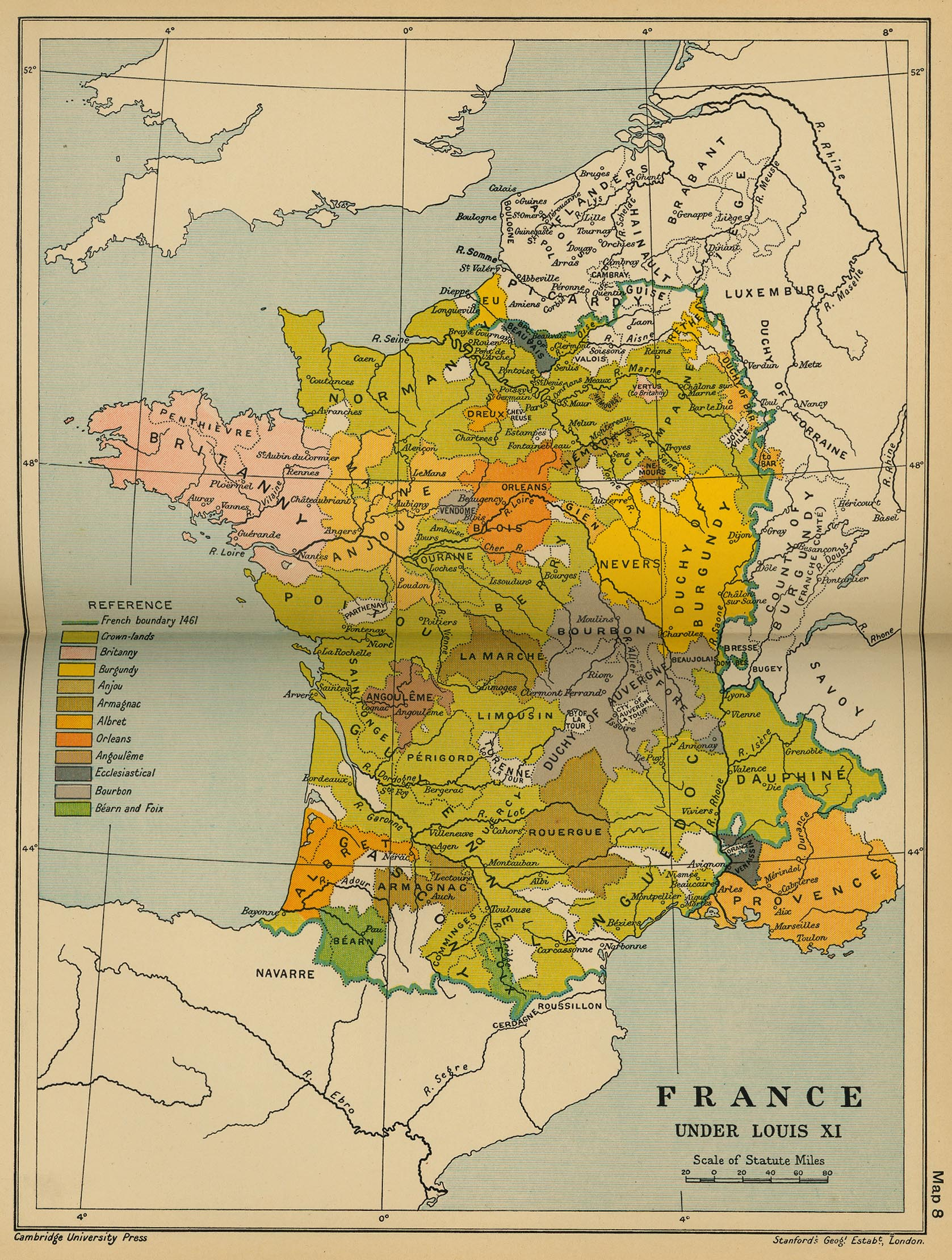 Cambridge modern history atlas 1912 perry castaeda map collection map 7 france under louis xi gumiabroncs Choice Image