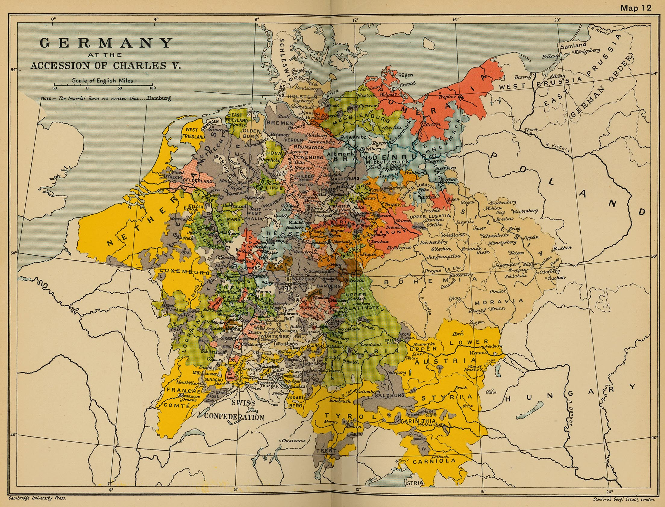 383k map 11 germany at the accession of charles v