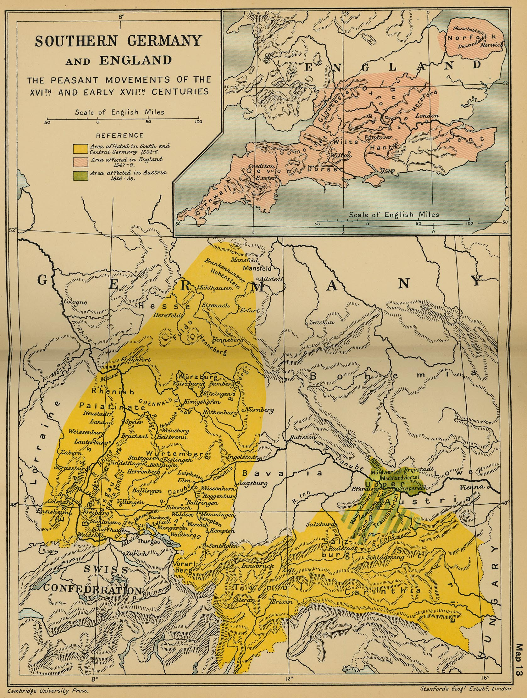 Cambridge Modern History Atlas 1912 PerryCasta eda Map – Map of Germany and England