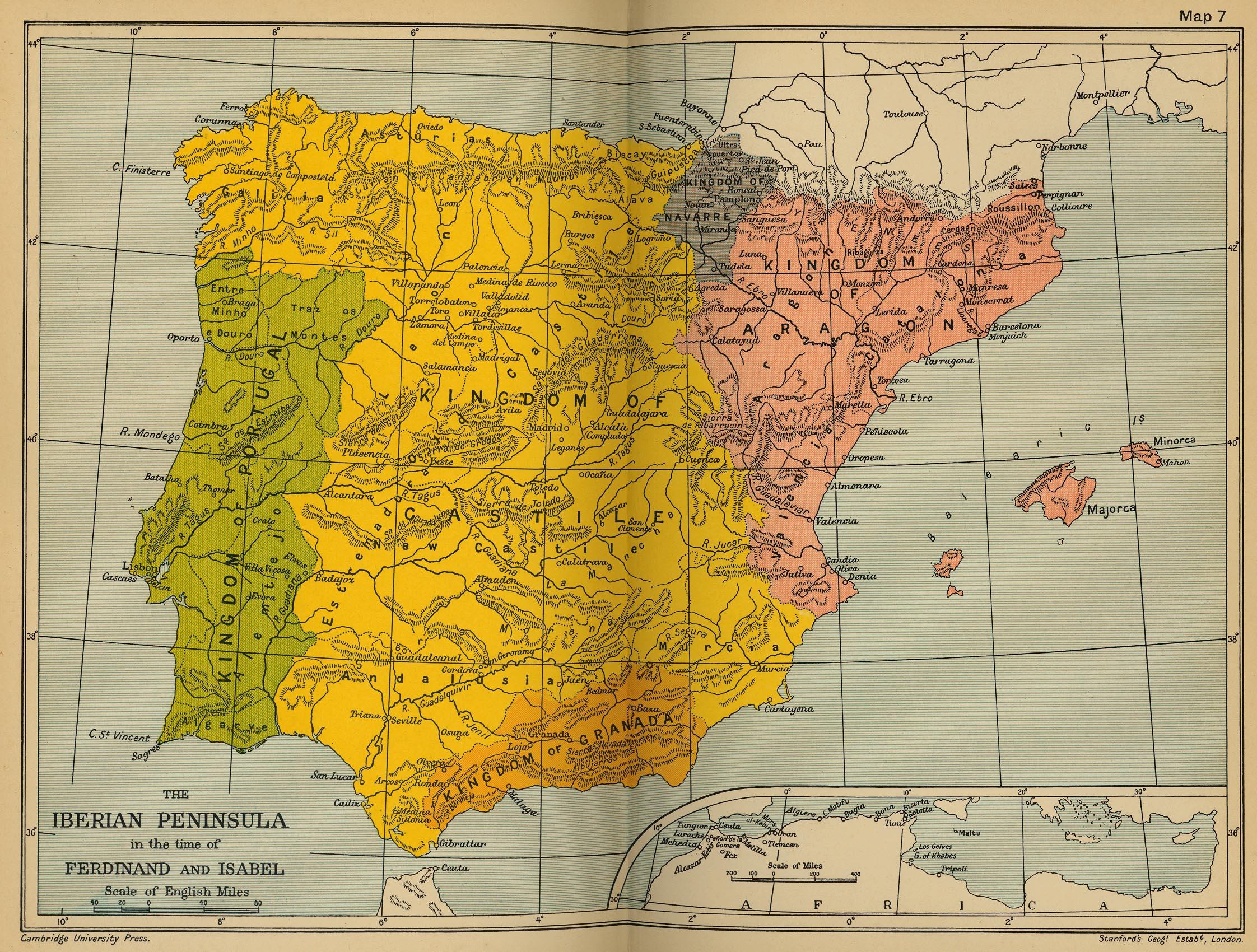 Cambridge Modern History Atlas PerryCastañeda Map - Portugal map history