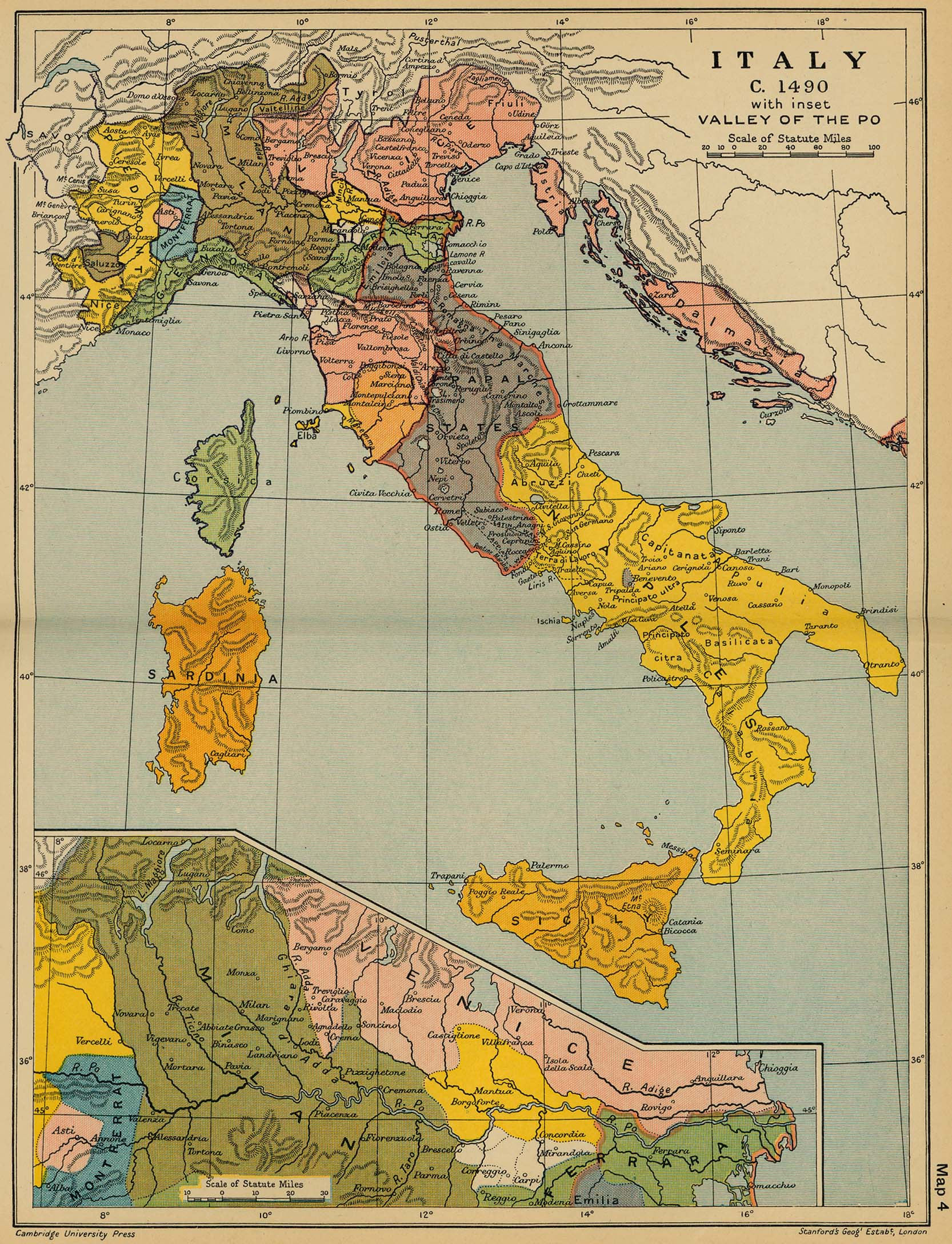 Cambridge modern history atlas 1912 perry castaeda map collection map 3 italy c gumiabroncs Choice Image