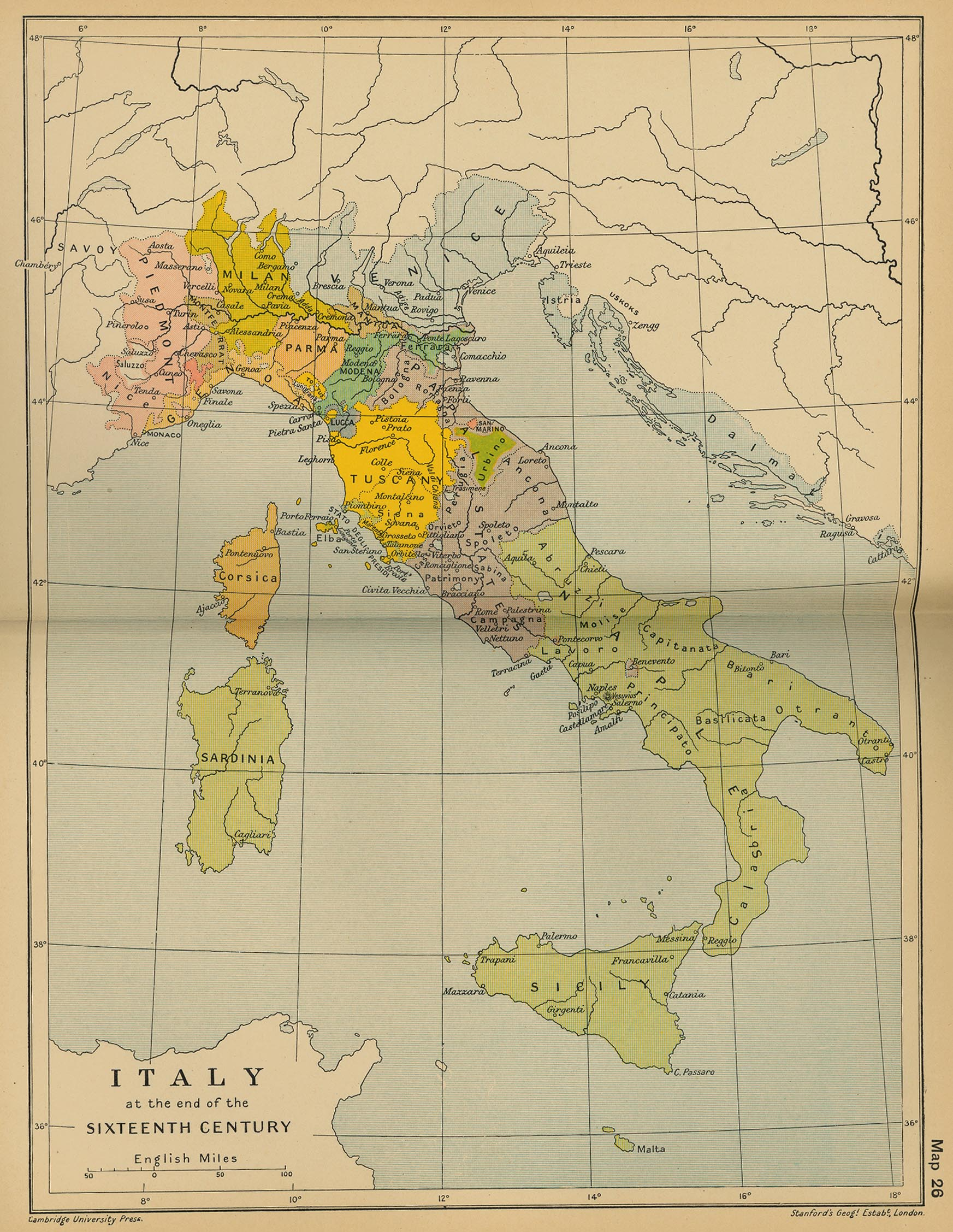 Modern Map Of Italy.Historical Maps Of Italy
