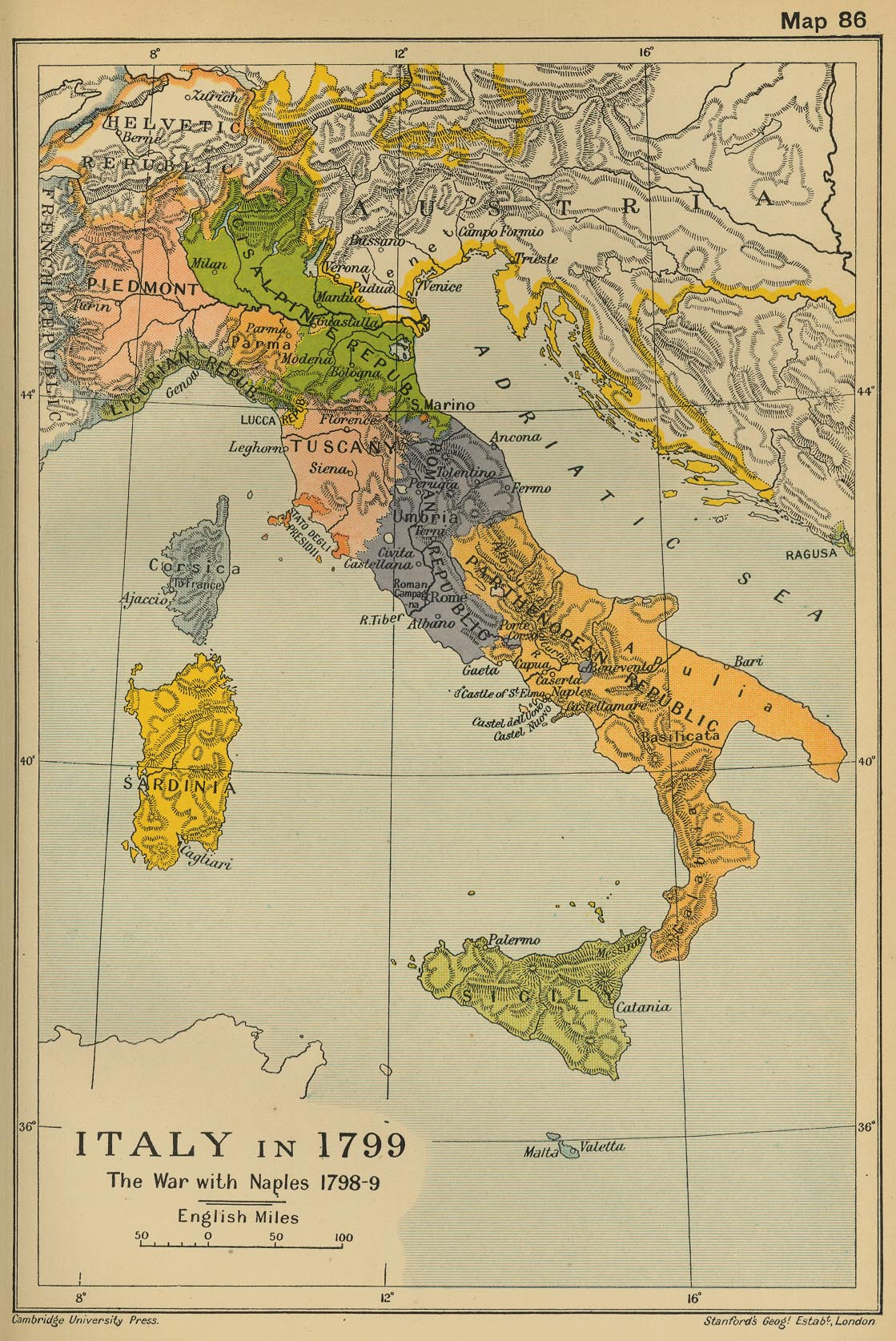 Historical maps of italy italy in 1799 cambridge modern history atlas 1912 gumiabroncs Gallery