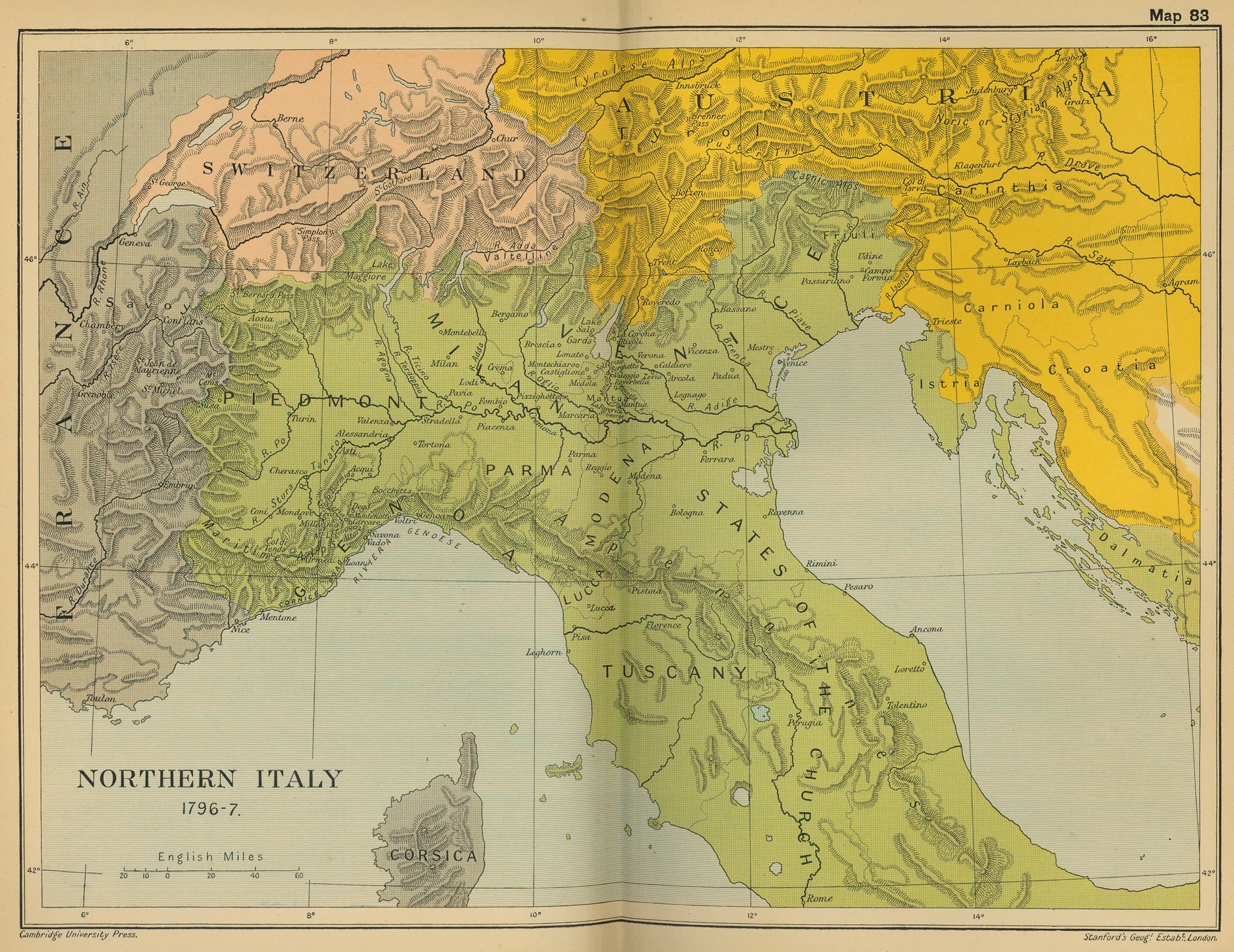 Historical Maps Of Italy - Us population map 1797