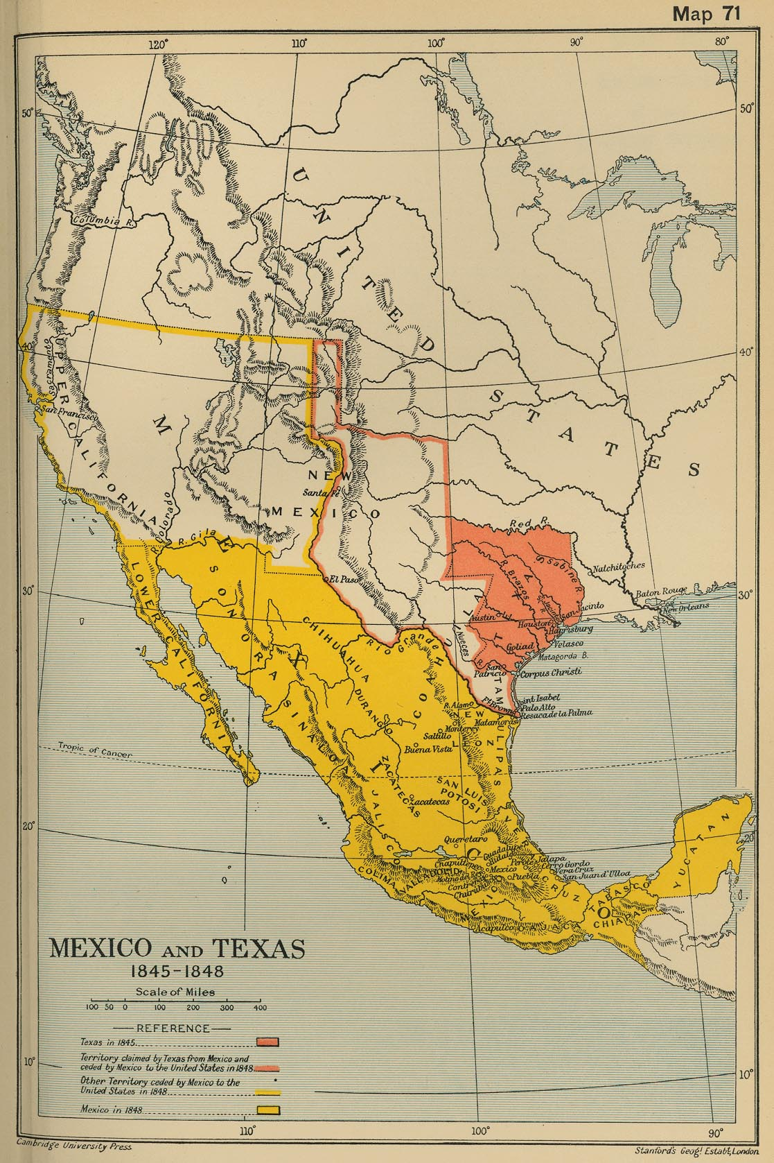 Cambridge Modern History Atlas PerryCastañeda Map - Us map with mexico before