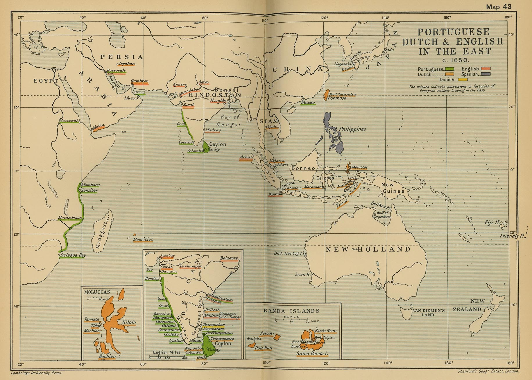Cambridge modern history atlas 1912 perry castaeda map collection map 42 portuguese dutch and english in the east c gumiabroncs Images