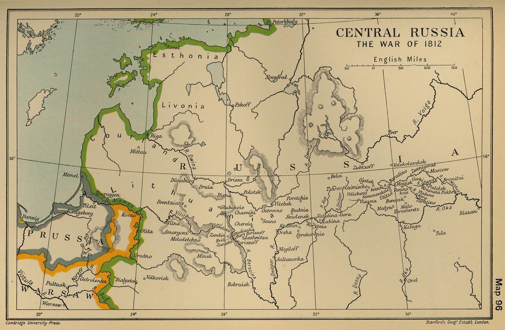 вернуться в раздел.  Карта центральной России 1812 года.