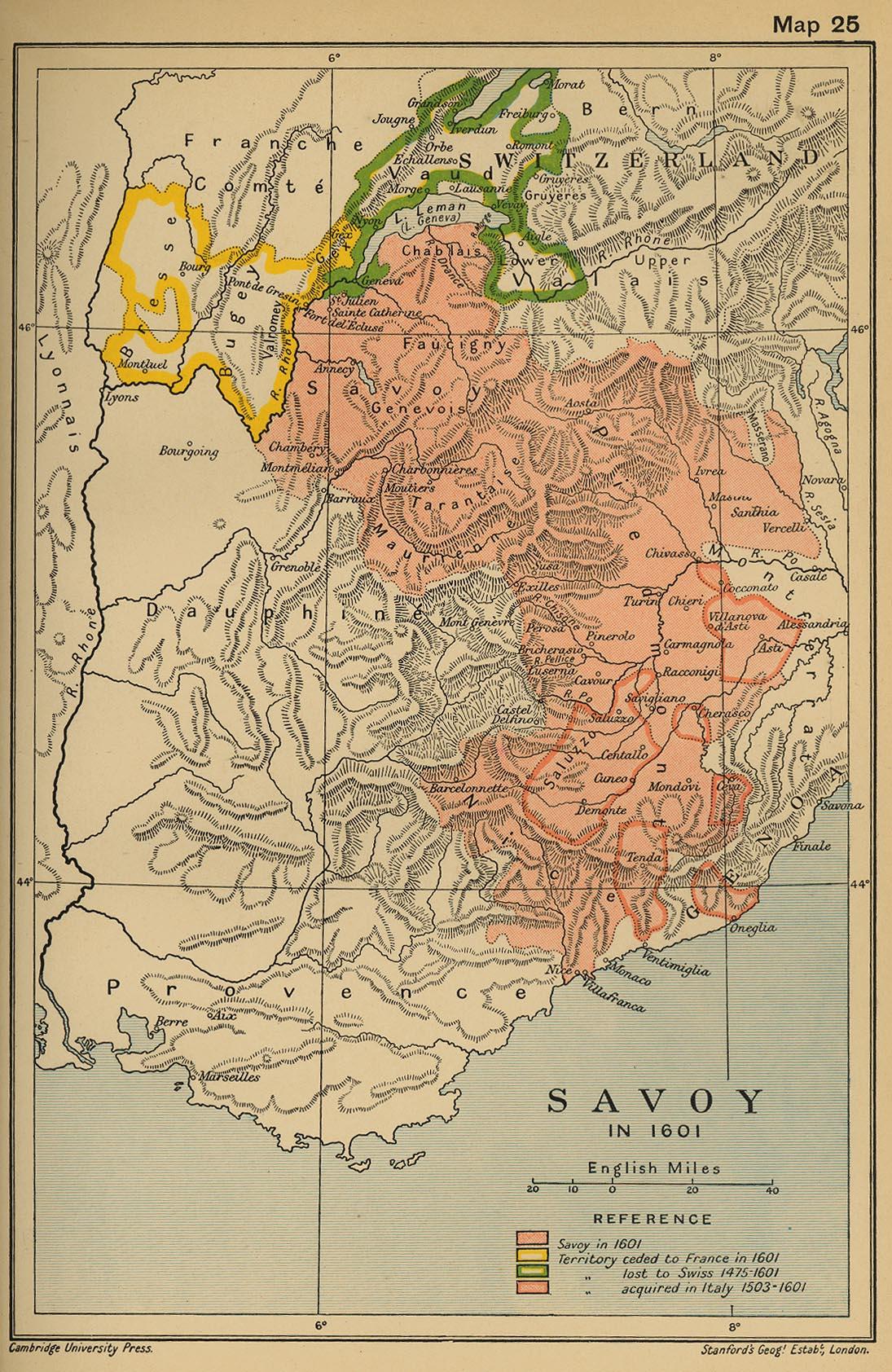 carte historique de la Savoie ...