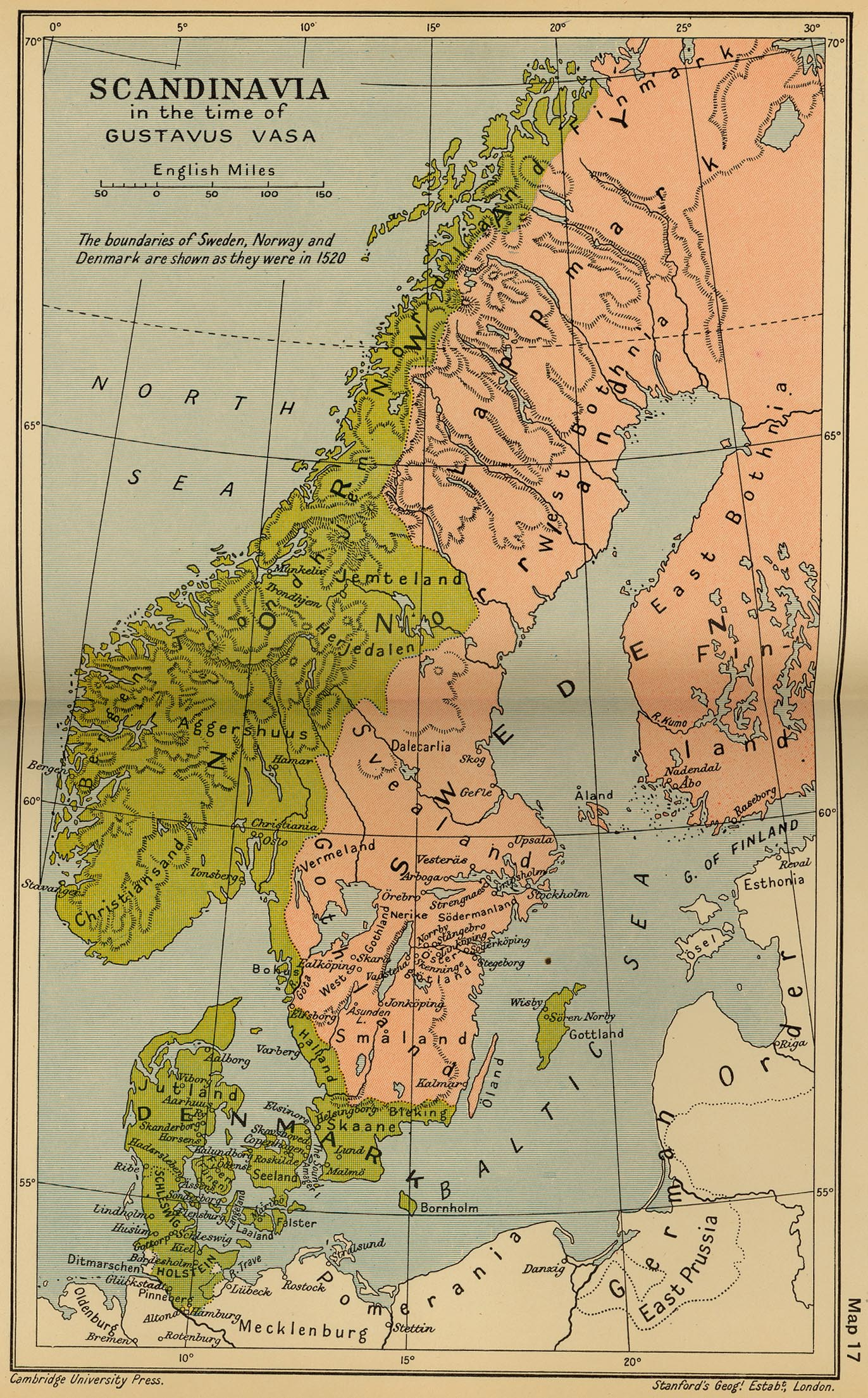 Map 16 Scandinavia In The Time Of Gustavus Vasa