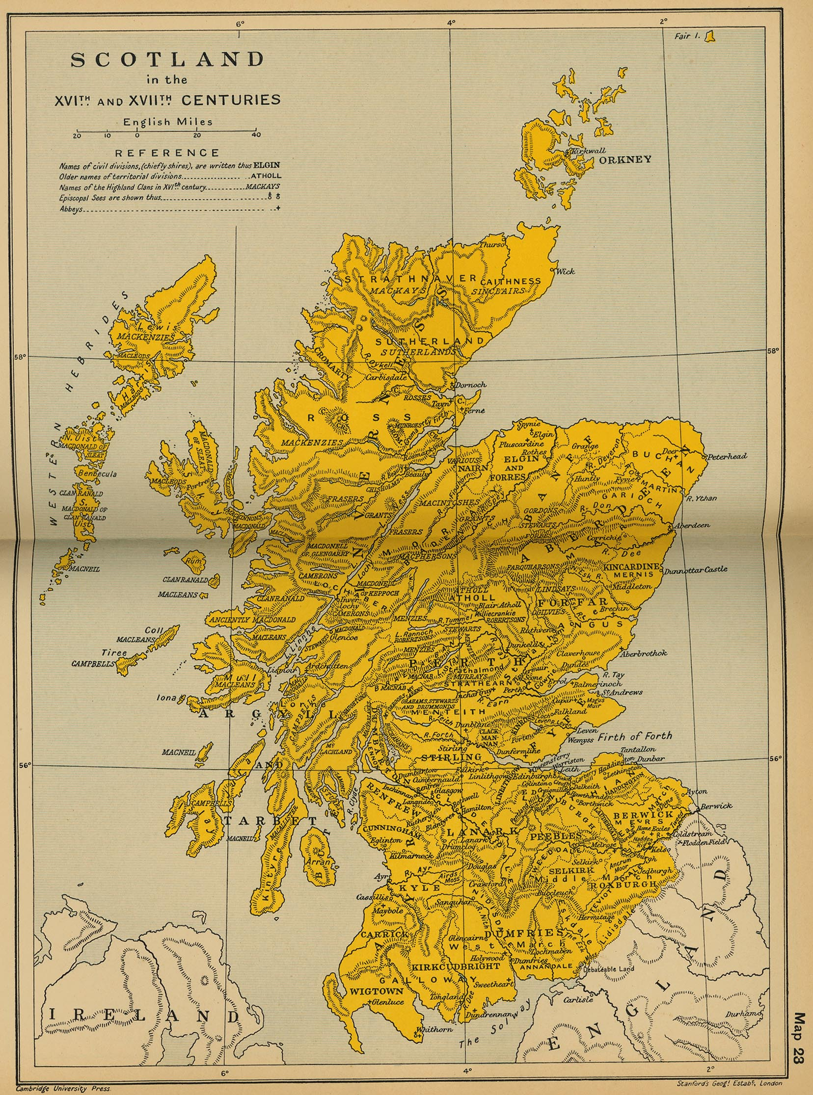 Cambridge modern history atlas 1912 perry castaeda map collection map 22 scotland in the xvith and xviith centuries gumiabroncs Image collections