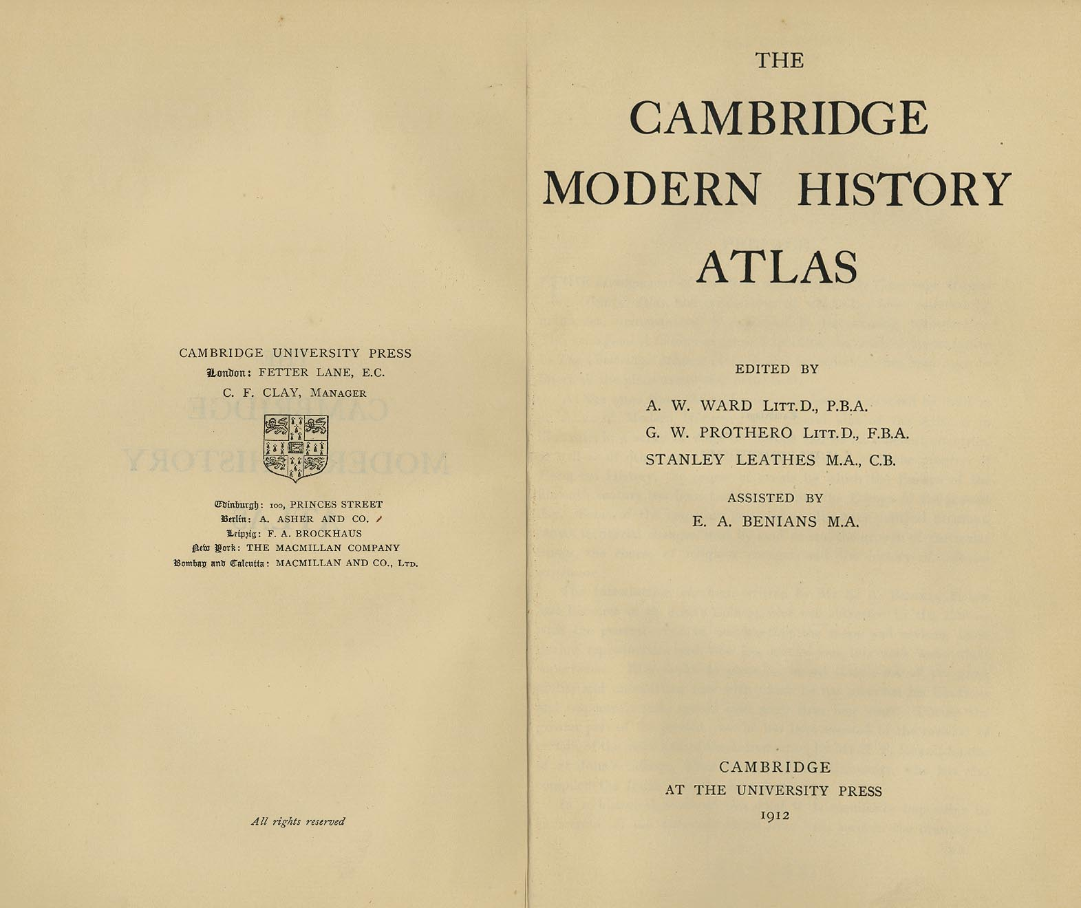 cambridge modern history atlas perry casta ntilde eda map title page