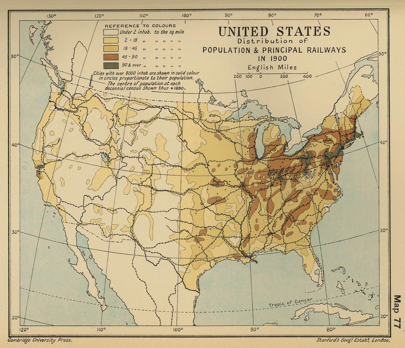 map 76 united states distribution of population principal railways in 1900
