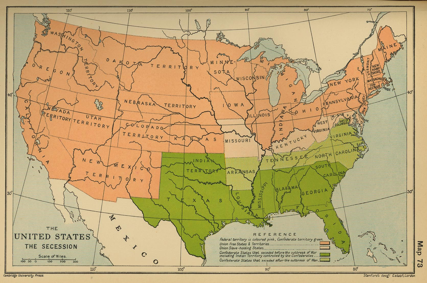 Us Map In 1860