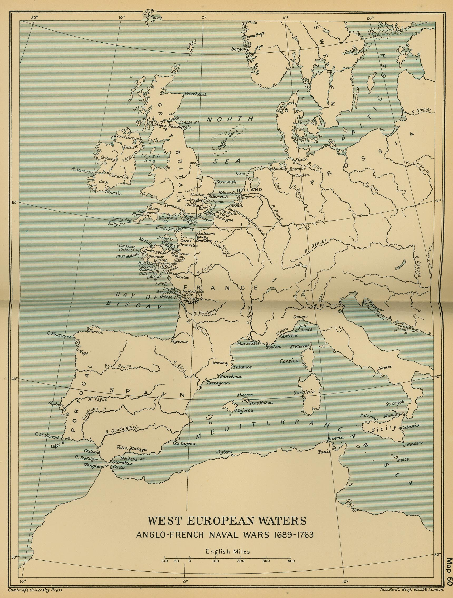 ... Map 49; West European Waters: Anglo French Naval Wars 1689 1763 ...
