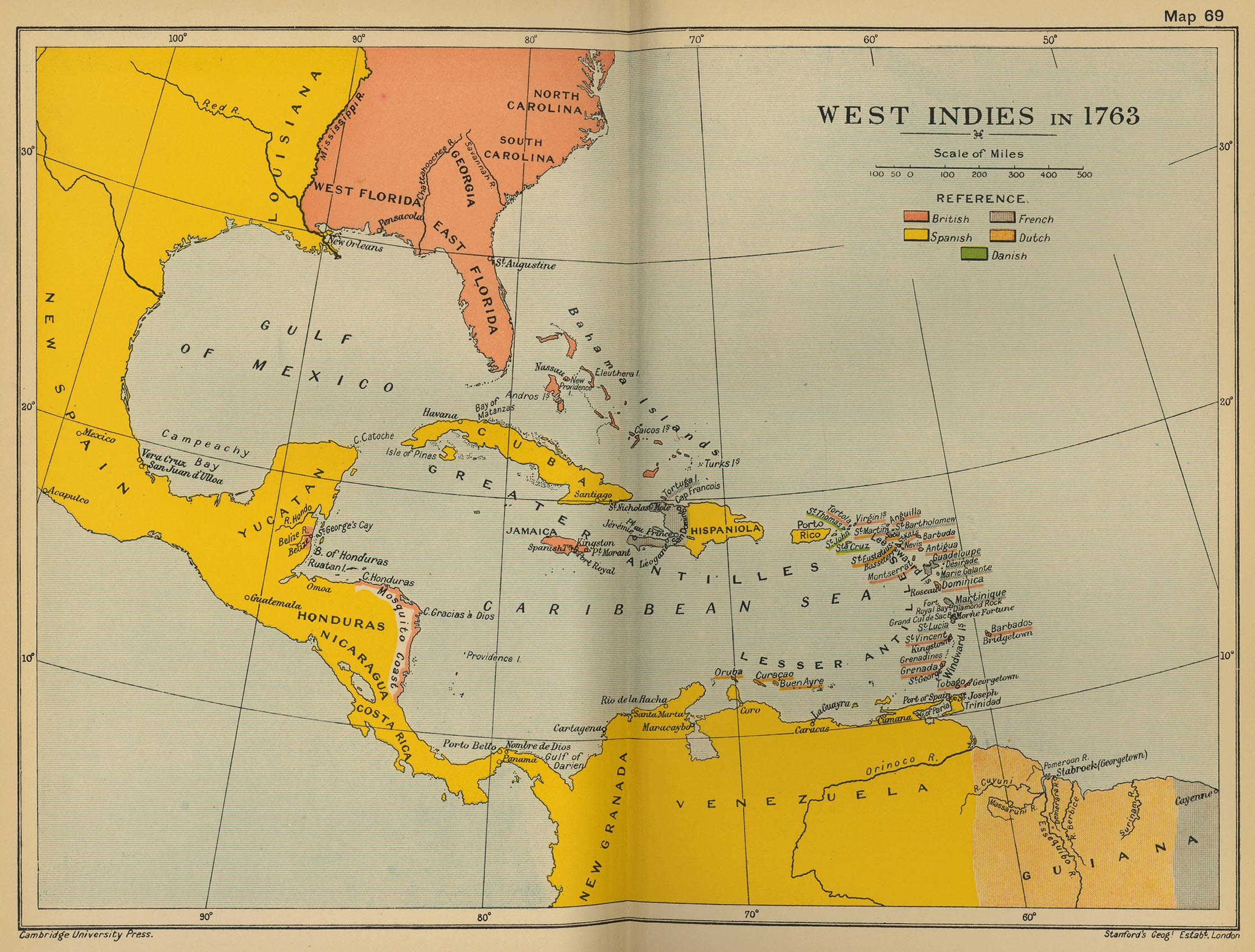 Cambridge modern history atlas 1912 perry castaeda map collection map 68 west indies in 1763 gumiabroncs Gallery