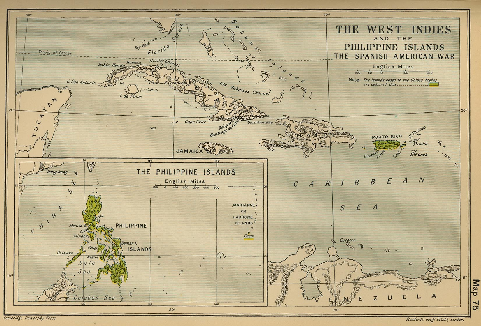 map 74 the west indies and the philippine islands the spanish american war
