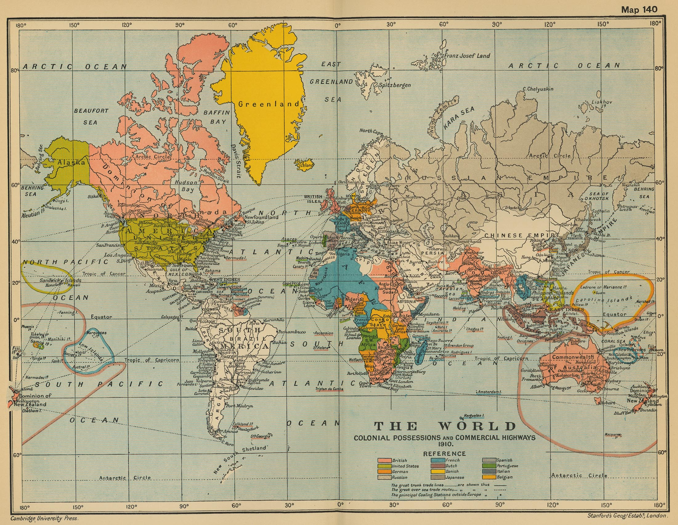 World historical maps perry castaeda map collection ut library the world colonial possessions and commercial highways 1910 gumiabroncs Images