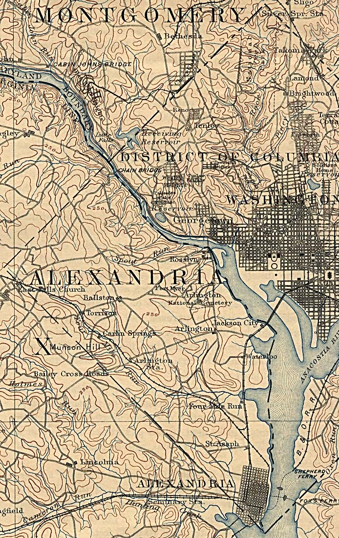 Historical Maps of U.S Cities. Washington D.C. 1894 U.S. Geological Survey (417K)