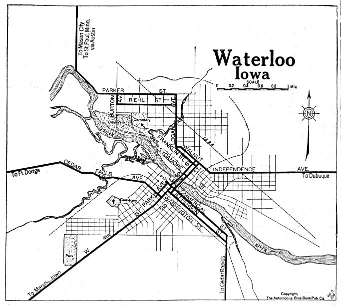 Historical Maps of U.S Cities. Waterloo, Iowa 1919 Automobile Blue Book (117K)