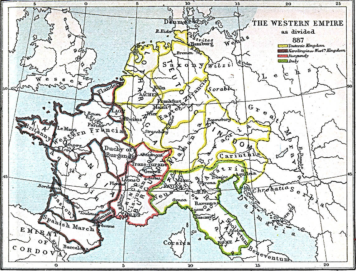 Maps of the Western Empire 843 A.D. - 887 A.D.