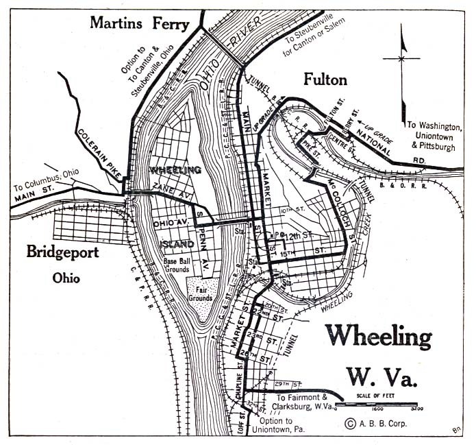 Historical Maps of U.S Cities. Wheeling, West Virginia 1920 Automobile Blue Book (156K)