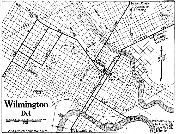 Historical Maps of U.S Cities. Wilmington, Delaware 1920 Automobile Blue Book (195K)