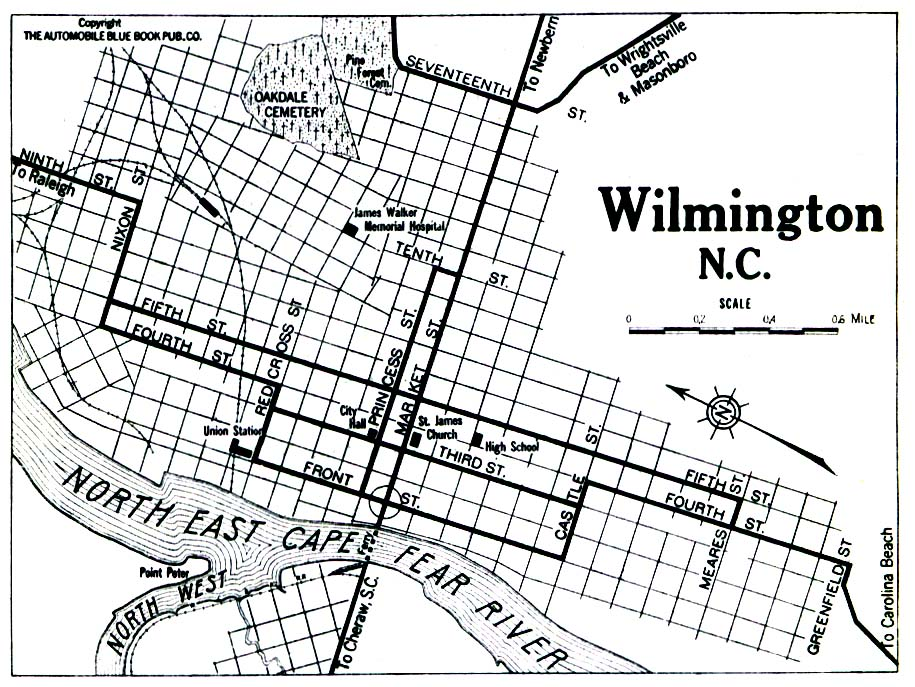 Historical Maps of U.S Cities. Wilmington, North Carolina 1919 Automobile Blue Book (258K)