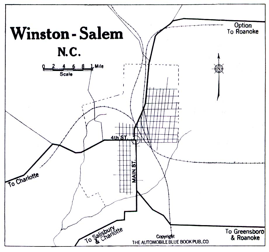 Historical Maps of U.S Cities. Winston-Salem, North Carolina 1919 Automobile Blue Book (194K)