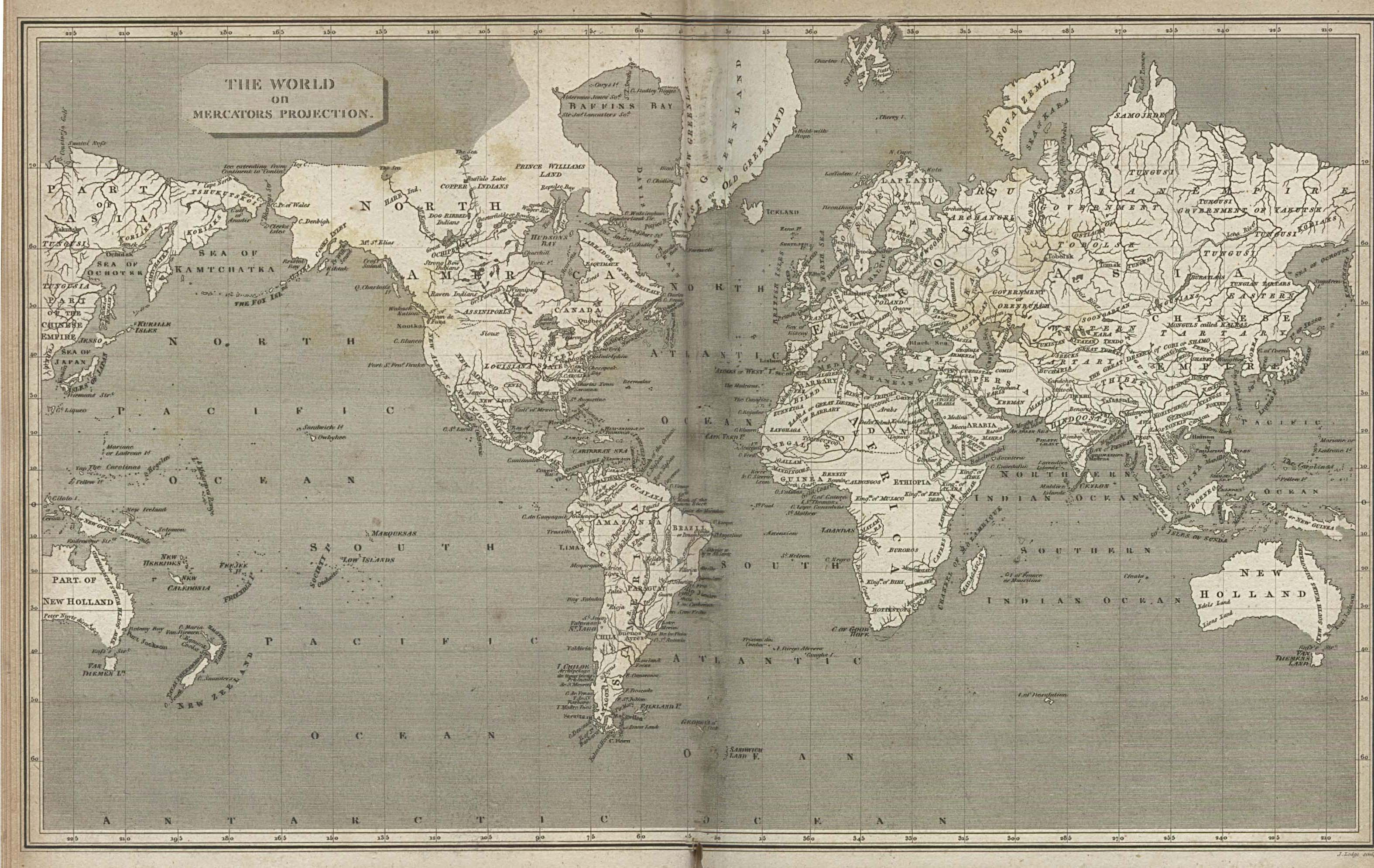 The World On Mercators Projection 1820