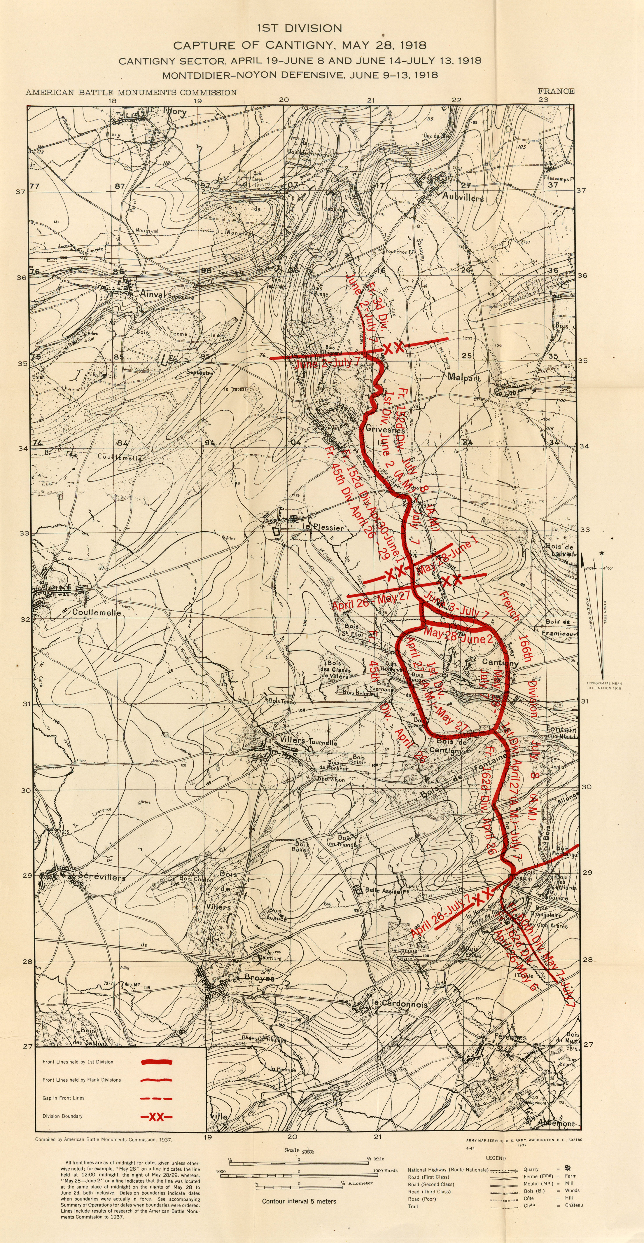 Summary Of Operations In The World War PerryCastañeda Map - 1917 1918 us in europe battles map