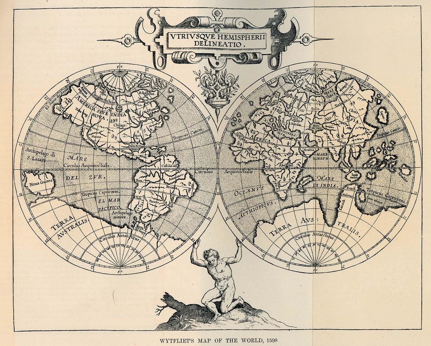 Stare geografske mape i karte Wytfliets_world_1598