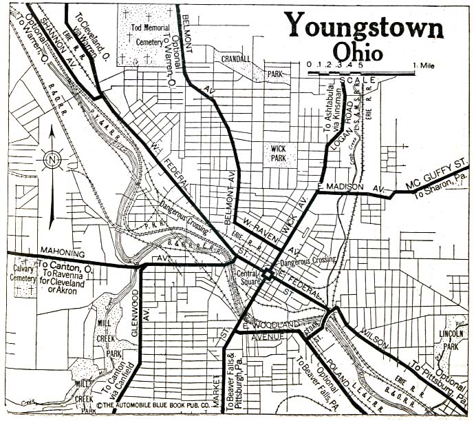 Historical Maps of U.S Cities. Youngstown, Ohio 1920 Automobile Blue Book (176K)
