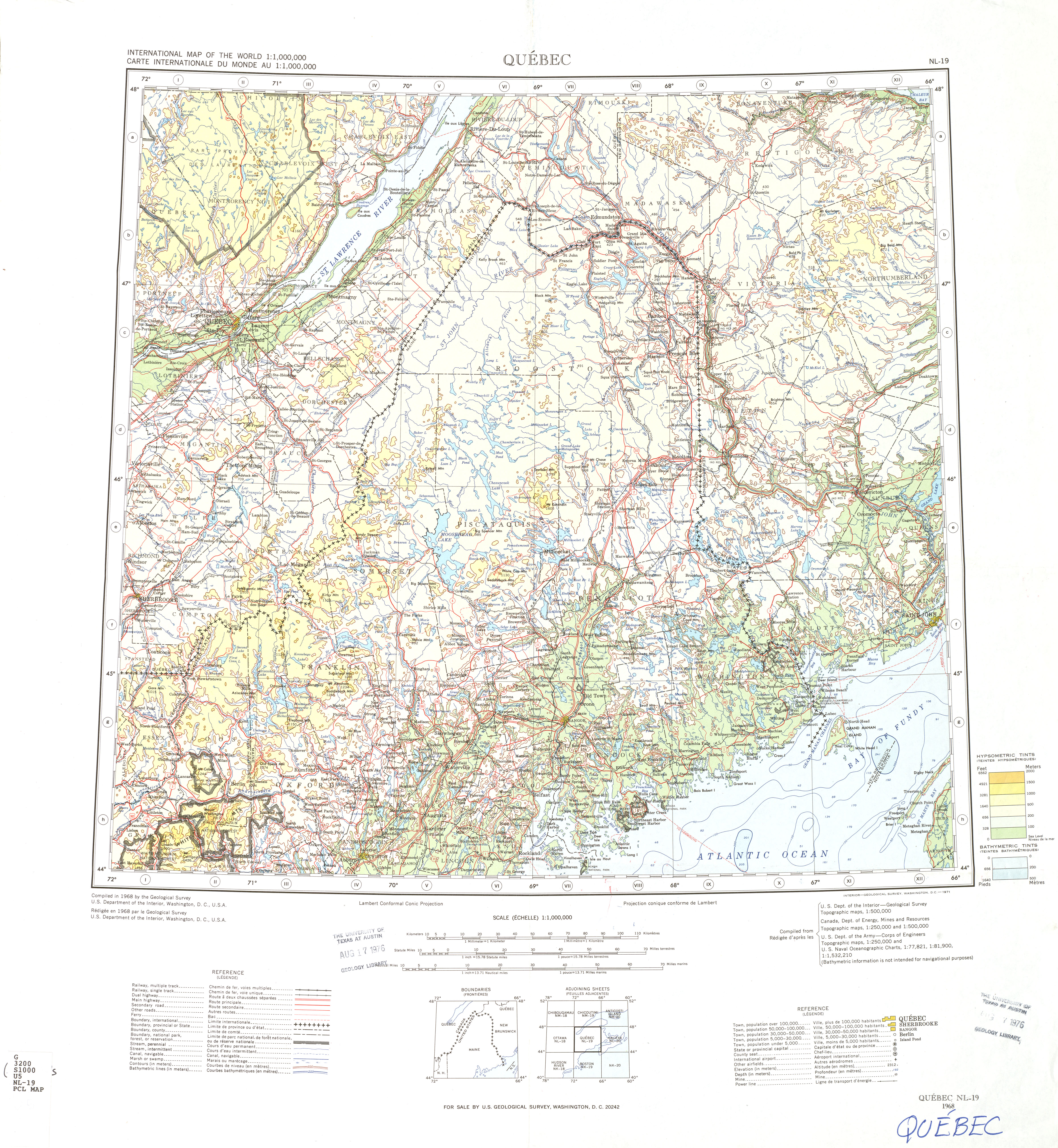 Nl 19 Quebec Canada United States U S Geological Survey 1968