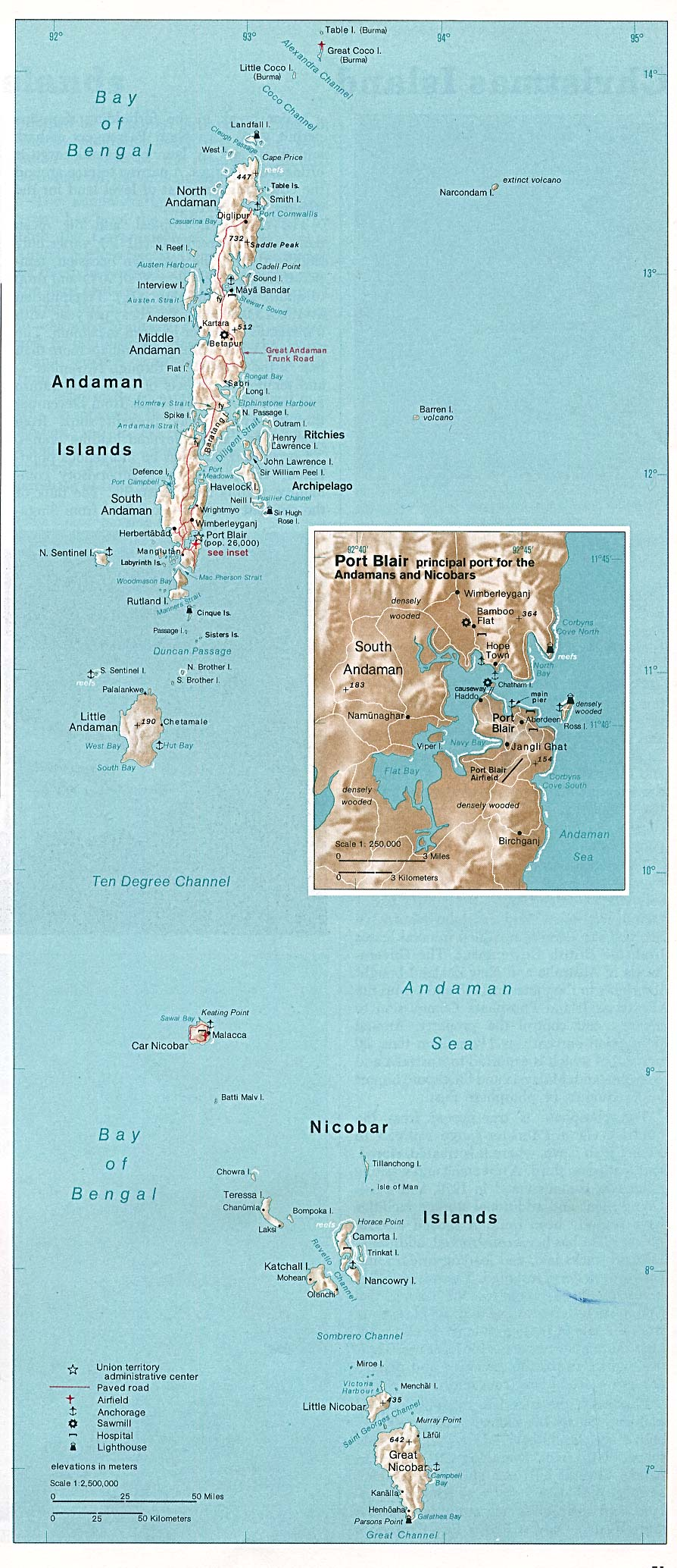 Map Of India , Andaman and Nicobar Islands 1976 (315K)