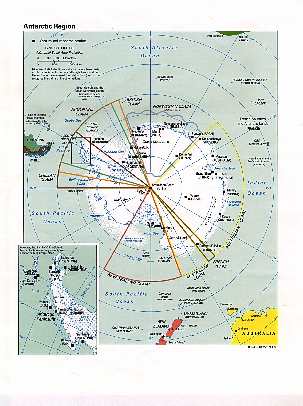 Polar Regions And Oceans Maps PerryCastañeda Map Collection - Antarctica maps