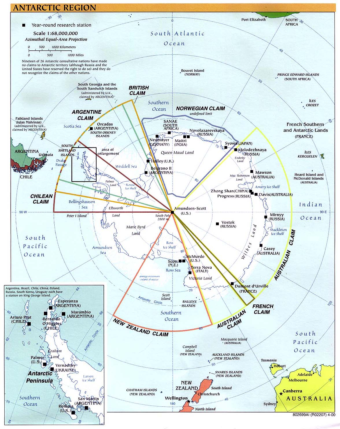 Polar Regions And Oceans Maps PerryCastañeda Map Collection - Antarctic research stations map