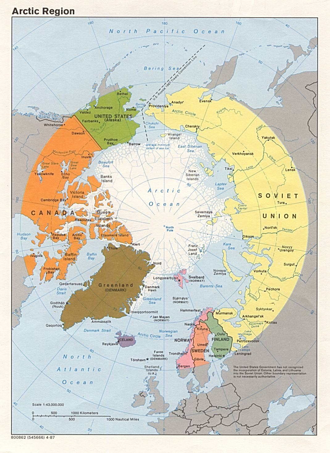 Polar Regions And Oceans Maps PerryCastañeda Map Collection - Map of arctic circle