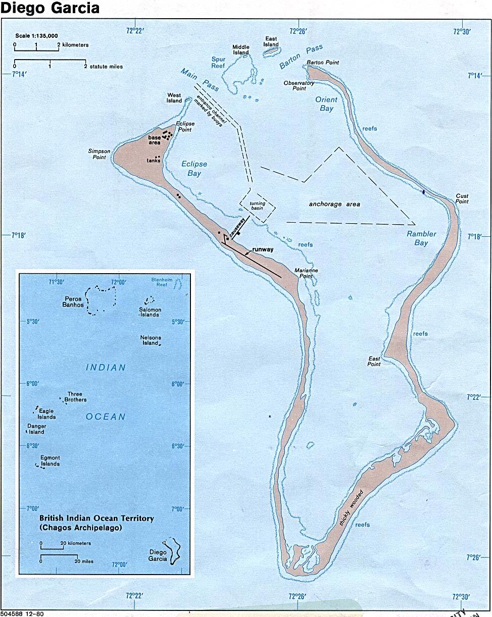 Diego Garcia Island Indian Ocean Map