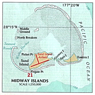 Map Of Midway Islands, Midway Islands (U.S.) [Political Map] U.S. National Atlas 1970 (60K)