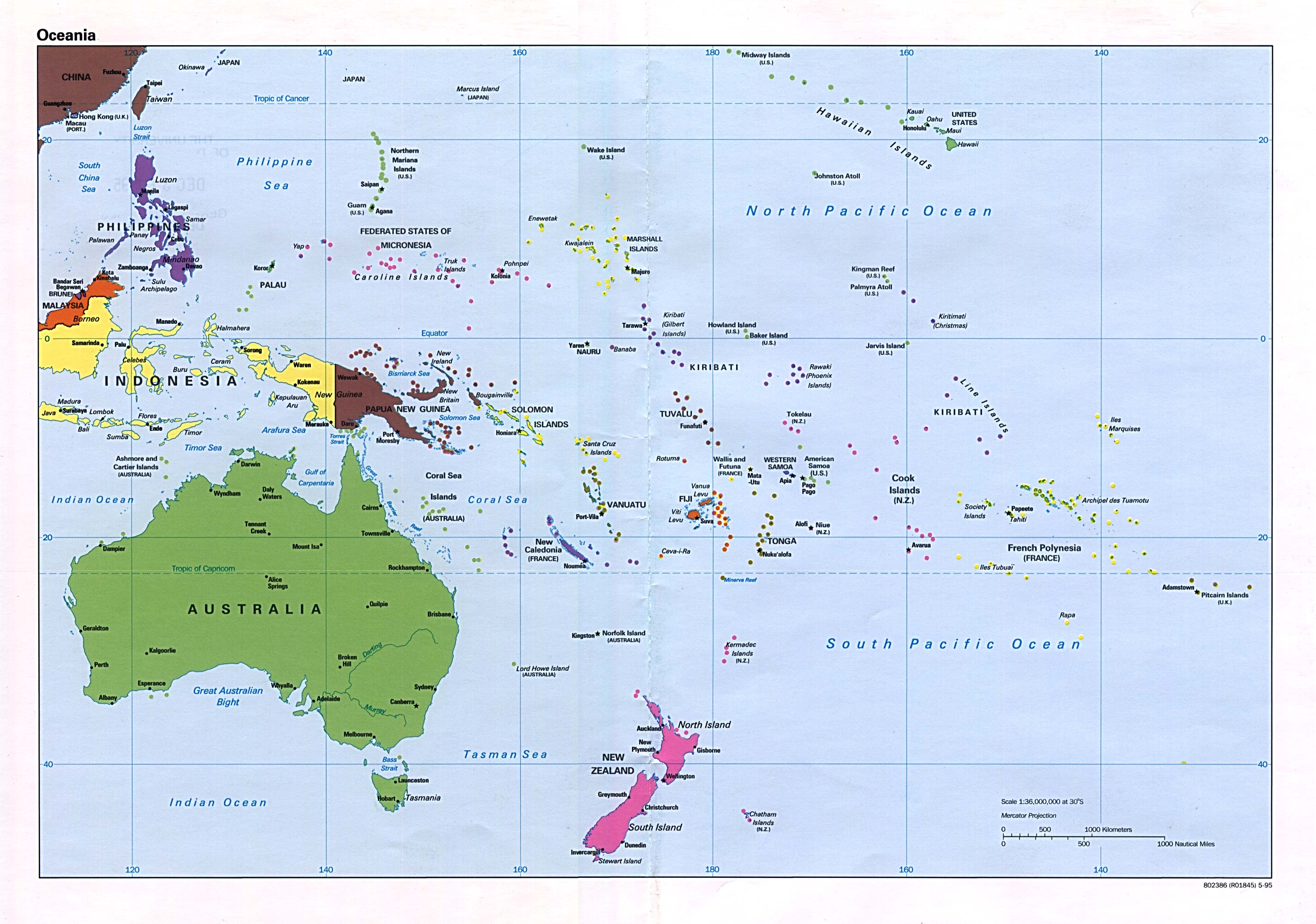 South Pacific Islands Oceania Map