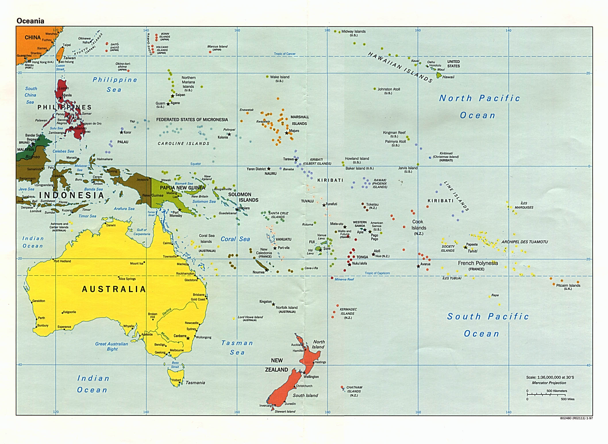 Australia And The Pacific Maps PerryCastañeda Map Collection - Physical map of oceania