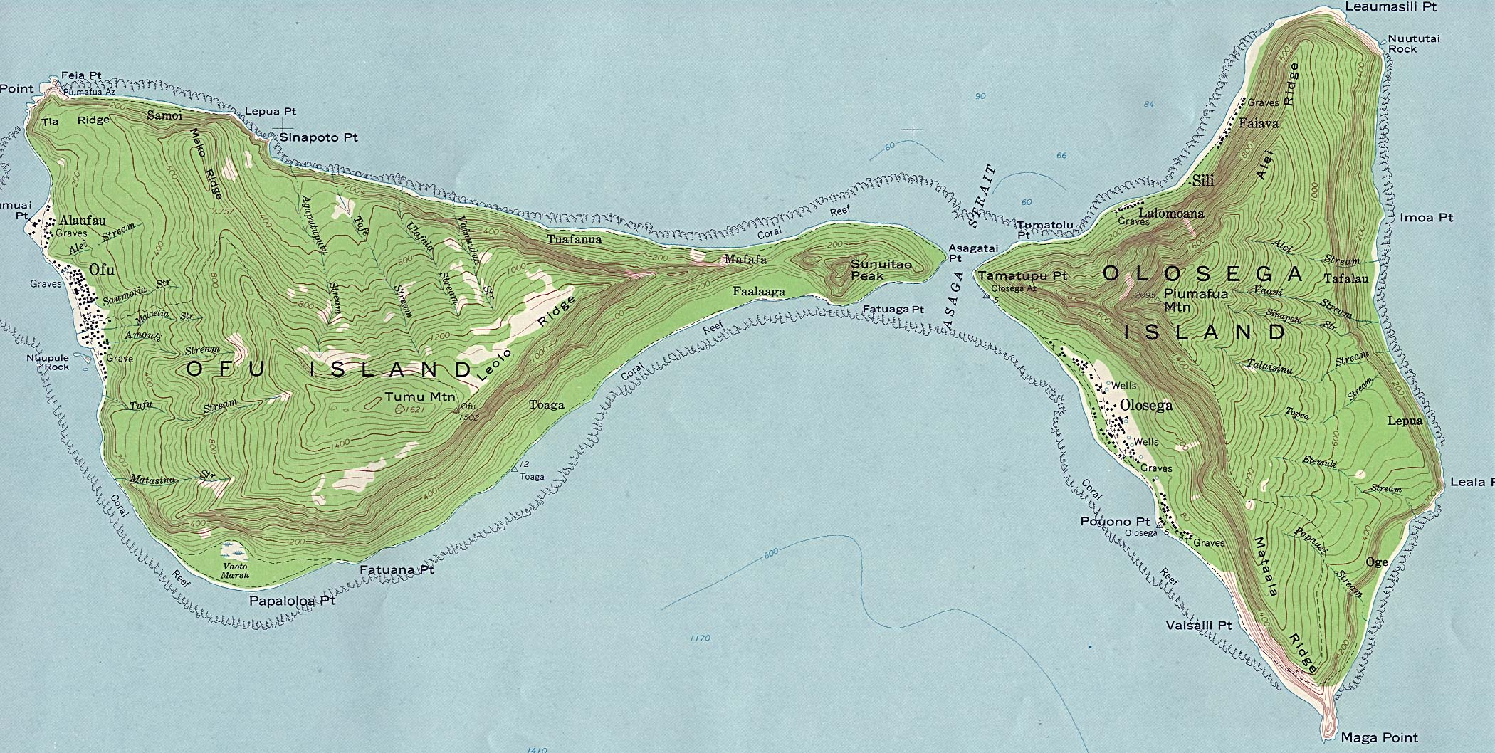 manua islands ofu and olosega topographic map