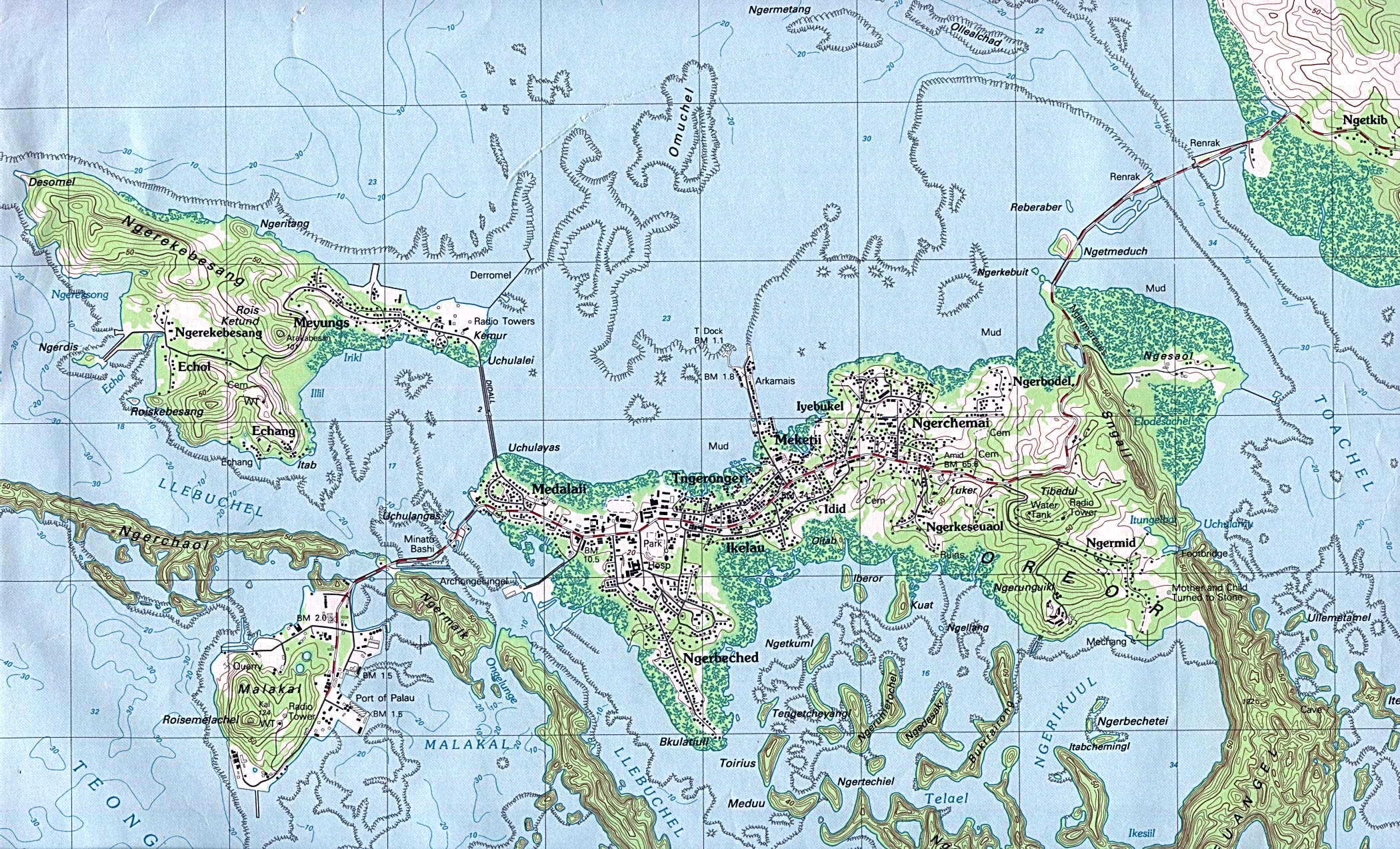 Map Of Palau , Palau - Koror, Oreor Island [Topographic Map] original scale 1:25,000. Portion of Oreor sheet, U.S.G.S. 1983 (906K) The capital city