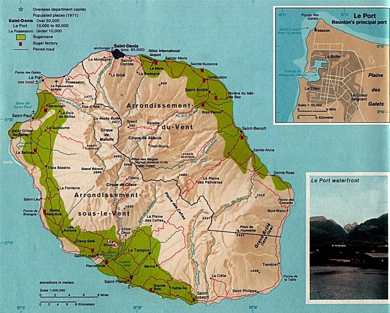 Map of Reunion Island and Reunion Map and Information Page