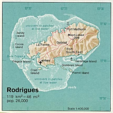 Map Of Mauritius Mauritius - Rodrigues Island 1976 (51K)