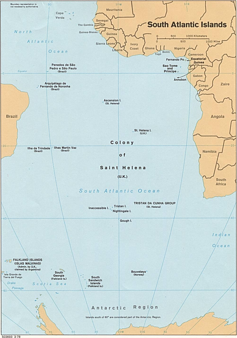 St Helena On World Map.Saint Helena Ascension And Tristan Da Cunha