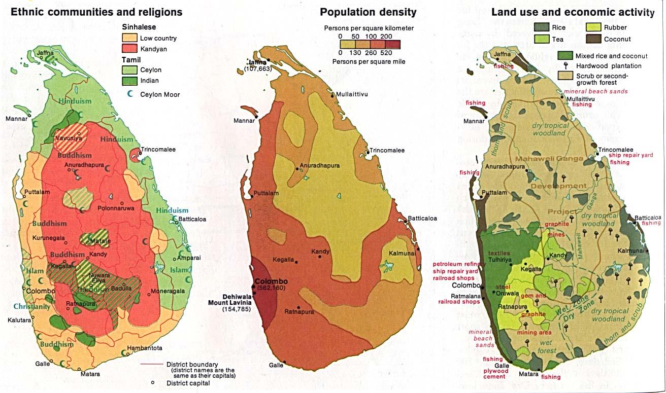 Map Of Sri Lanka, Sri Lanka (Ethnic communities and religions, Population density, Land use and economic activity) 1976 (188K)