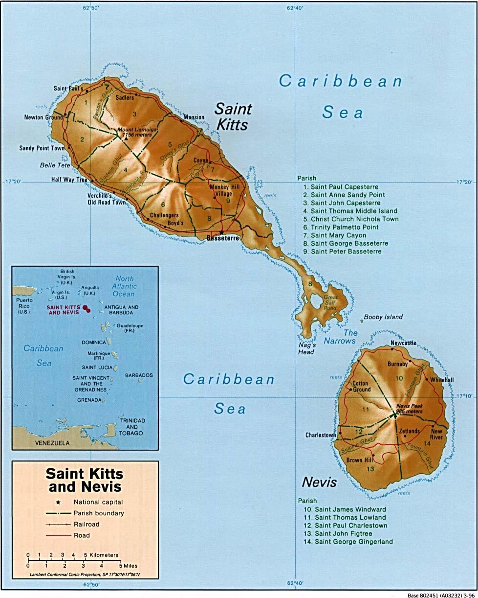 Maps Of Saint Kitts Nevis - Saint kitts and nevis map