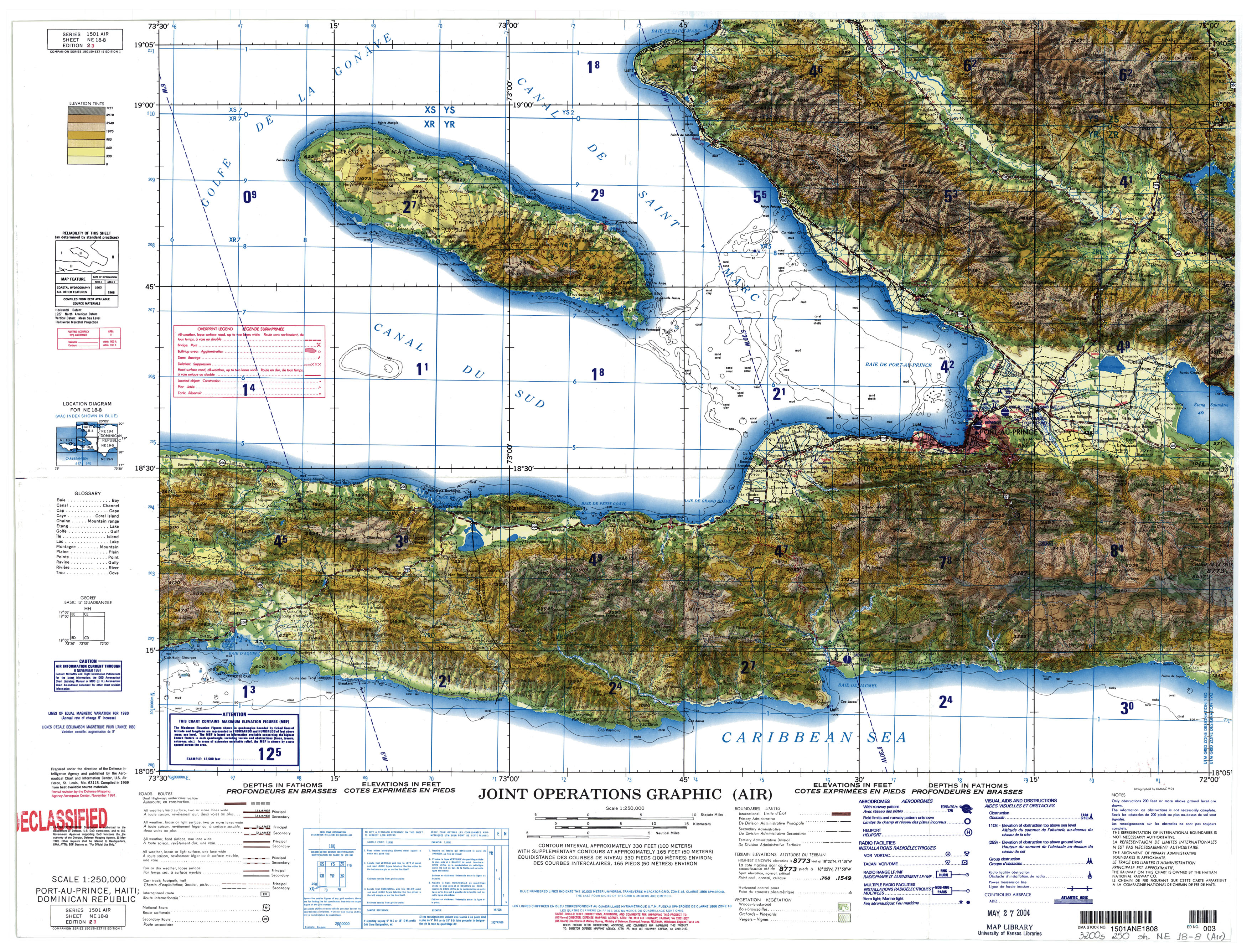 Topographic Map Of Haiti.Haiti Joint Operations Graphic Perry Castaneda Map Collection Ut