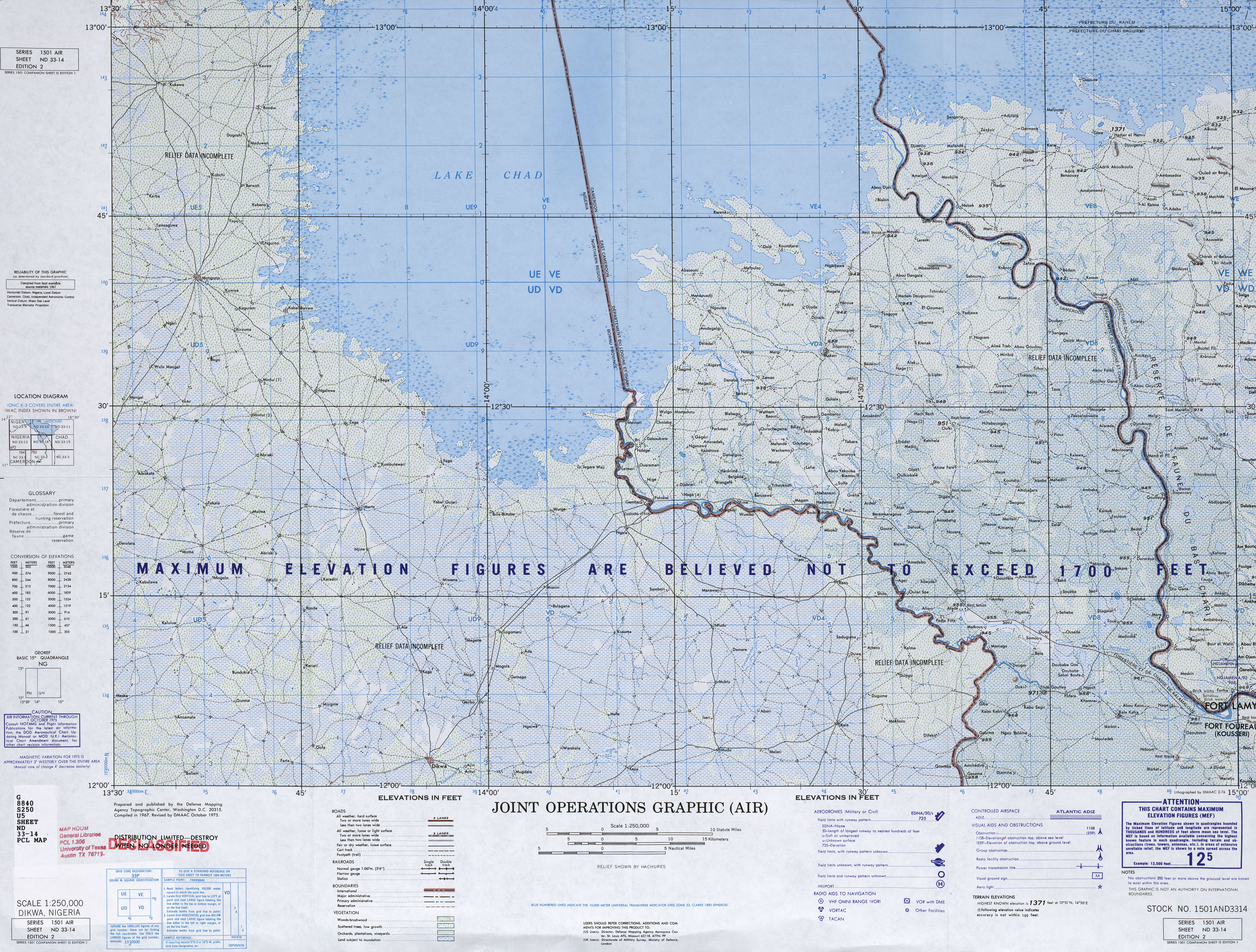 Chad, Series 1501, Joint Operations Graphic (Air) 1:250,000 Index ...
